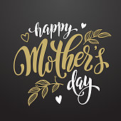 Mothers Day vector greeting card. Floral leaves pattern background. Hand drawn lettering title.