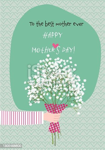 istock Mother´s day greeting card with hand giving flowers 1305468800