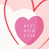Mother's Day greeting card with hearts. stock illustration
