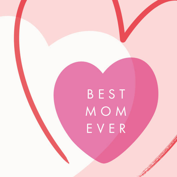 Mother's Day greeting card with hearts. vector art illustration