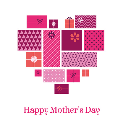 Mother's Day greeting card with love hearts and gift boxes.