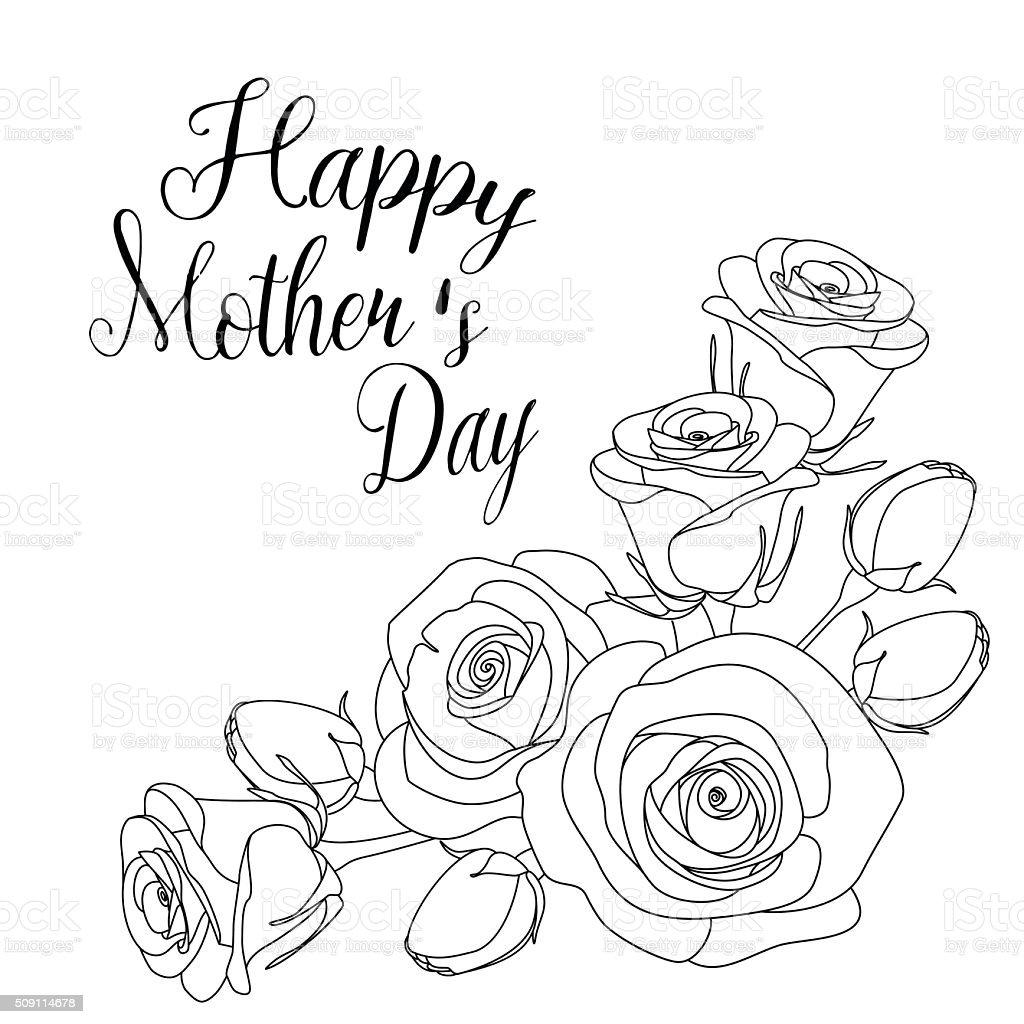 Mothers Day Greeting Card With Roses Coloring Page For Adults Royalty Free