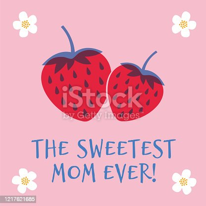 Mothers Day greeting card with Strawberry. Spring holidays. Vector Illustration. Stock illustration