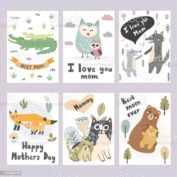 Mothers day greeting cards collection cute animals prints vector id1150693703?b=1&k=6&m=1150693703&s=612x612&h=rquzwar1ot g9ne4atk4duqdsytdwehu75dwhu j02a=