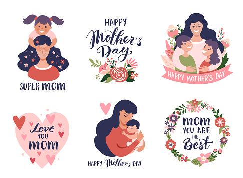 Mother's day greeting cards, posters set with mom and baby, calligraphy text.