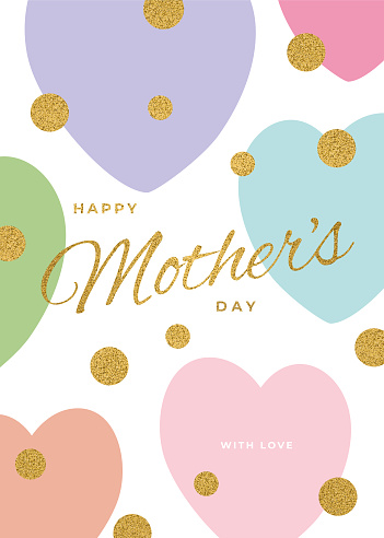 Mother's Day greetings card with abstract hearts. Happy Mother's day. Love mom concept.