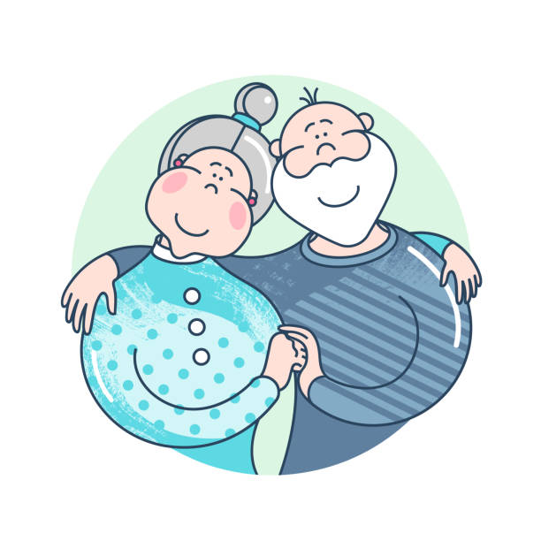 mother's day. happy family - grandmother and grandfather on white background. elderly people. attractive cartoon characters. - old man smiling backgrounds stock illustrations, clip art, cartoons, & icons