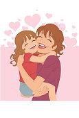Menina dando abraço na mãe