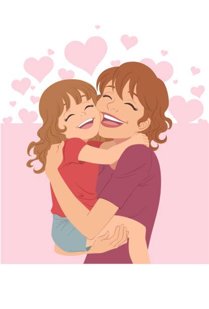 ilustraciones, imágenes clip art, dibujos animados e iconos de stock de un abrazo del día de la madre - hija