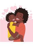Menino abraçando a mãe