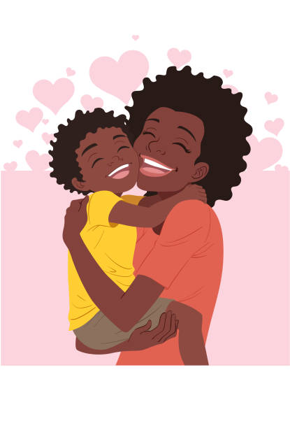 a mother's day hug - single mother stock illustrations