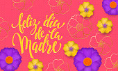 Mothers Day in Spanish with yellow, blue flower in gold blooming pattern banner and spanish text Feliz dia de la Madre. Design template for seasonal Mother day holiday greeting card design