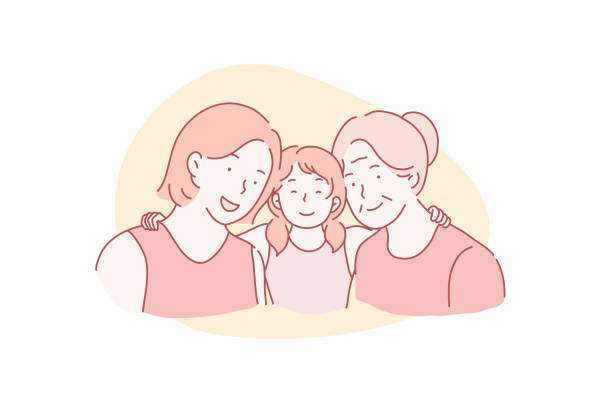 Mothers Day, International Womens Day, March 8 concept. Mothers Day, International Womens Day, March 8 concept. A young mother with a small daughter and a pensioner grandmother hugging together. Vector flat design. daughter stock illustrations