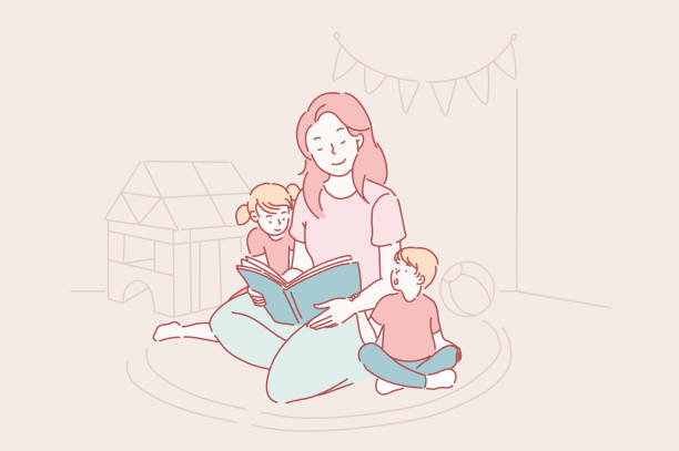 ilustraciones, imágenes clip art, dibujos animados e iconos de stock de día de las madres, jardín de infantes, concepto de maternidad. - hija