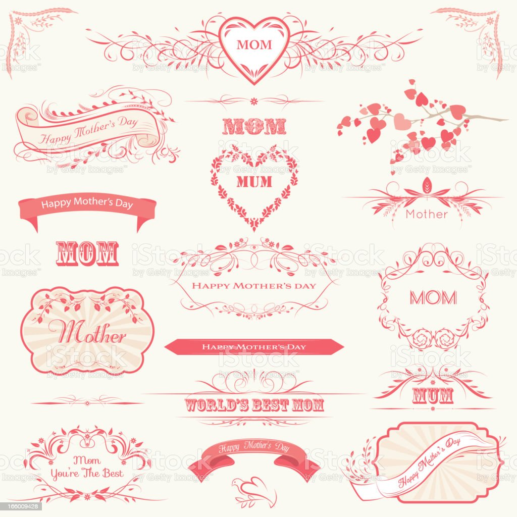 Mother's Day Labels, Banners & Calligraphic Frames royalty-free stock vector art