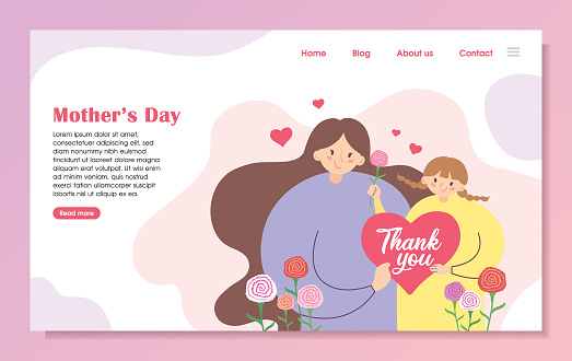 Mother's day landing page template - Cartoon mother & daughter with carnation flowers