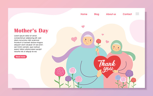 Mother's day landing page template - Cartoon muslim mother & daughter with carnation flowers