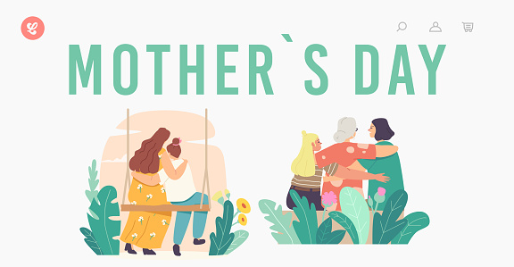 Mothers Day Landing Page Template. Loving Mother, Grandmother, Daughter and Granddaughter Family Characters Hugging