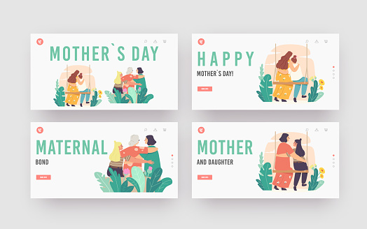 Mothers Day Landing Page Template Set. Mother, Grandmother, Daughter and Granddaughter Family Characters Hugging