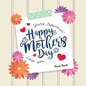 Happy Mother's Day greetings lettering or calligraphy with paper, washi tape, flowers and white wooden wall as background. Vector illustration.