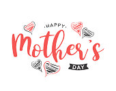 istock Mother's Day lettering card with hand drawn hearts. Vector 1316480890
