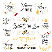 Mothers day banner logos icons label tags badge set with text Mama bee with cute hand drawn bee honey sweet heart Mommy to be card sign poster print Vector illustration for mam birthday anniversary.