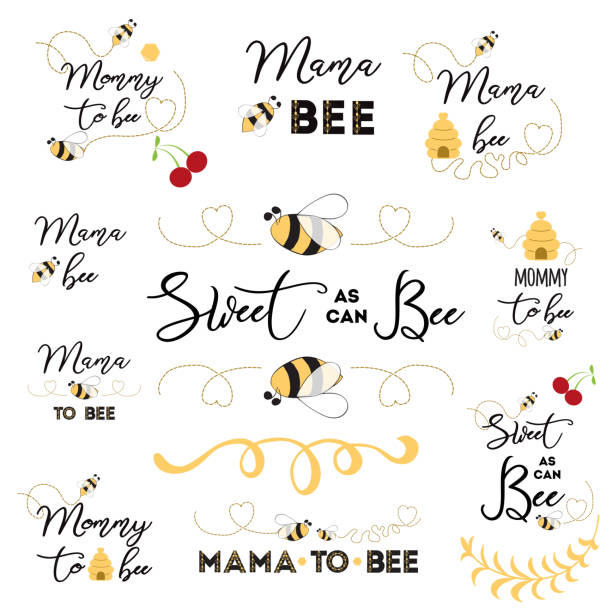 Mothers day logos, icons, labels, tags. Hand drawn set with bee sweet honey badges Mama bee Mothers day banner logos icons label tags badge set with text Mama bee with cute hand drawn bee honey sweet heart Mommy to be card sign poster print Vector illustration for mam birthday anniversary. baby shower stock illustrations