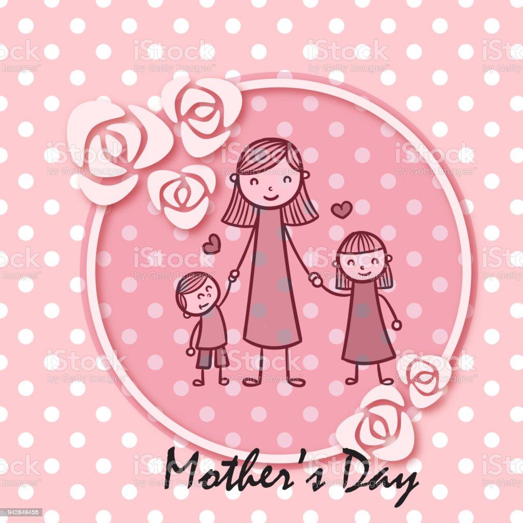 Ilustración de Día De La Madre Mama Hija E Hijo Círculo Rosa Marco ...