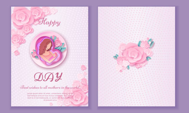 Mother's day origami paper art greeting card in trendy style wit vector art illustration