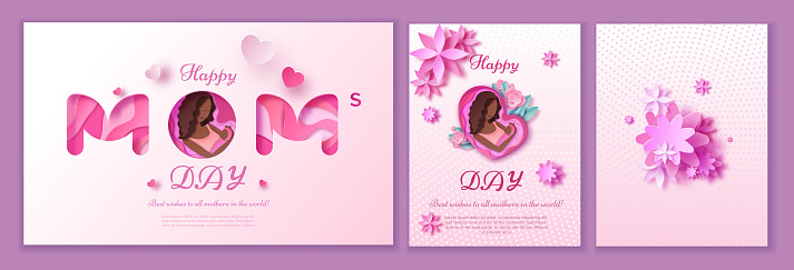 Mother's day origami paper art greeting card in trendy style with frame, patterns, flowers, african woman holding baby silhouette. Colorful carved vector illustration