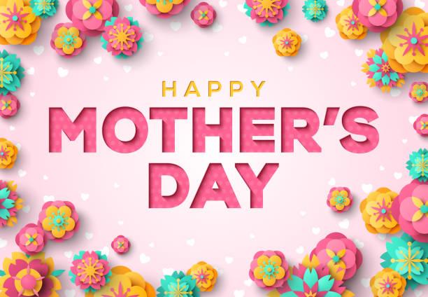 ilustraciones, imágenes clip art, dibujos animados e iconos de stock de corta papel día de la madre con flores de primavera - día de la madre