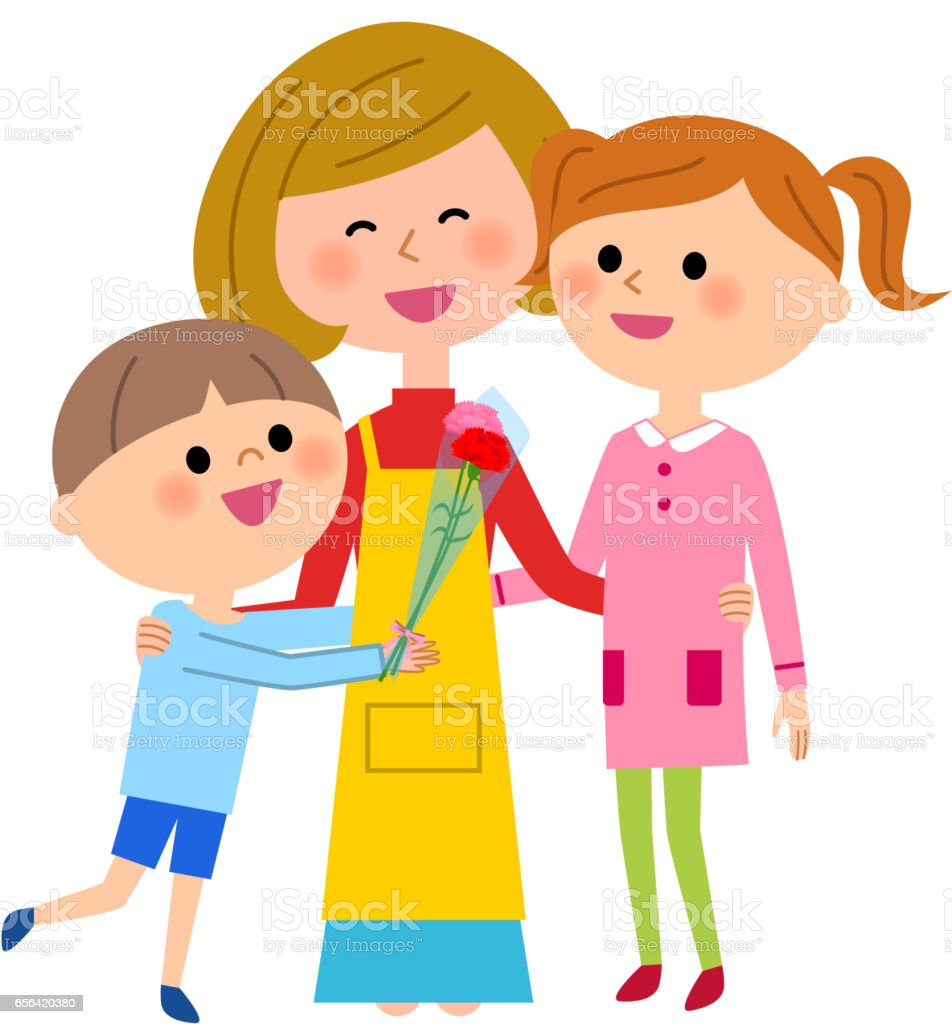 Mother's Day, parent and child vector art illustration