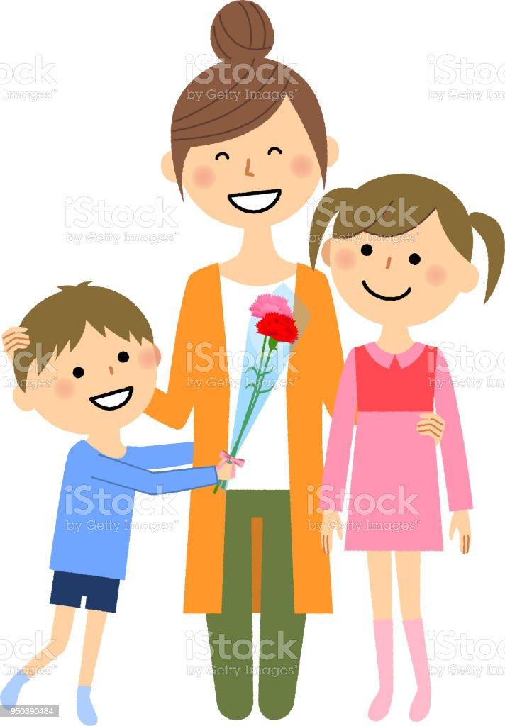 母の日、親と子 ベクターアートイラスト