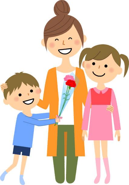 母の日、親と子 - 娘点のイラスト素材/クリップアート素材/マンガ素材/アイコン素材