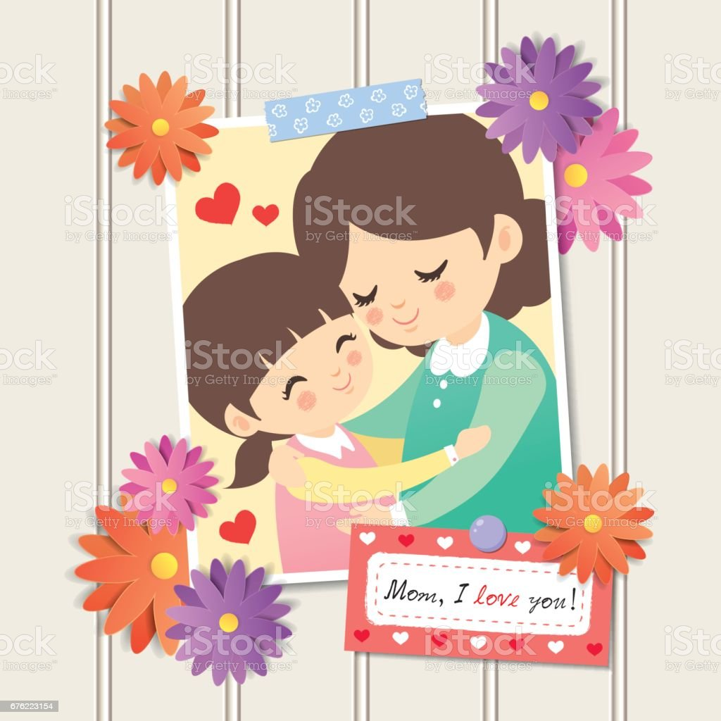 Mother's Day photo 5 vector art illustration