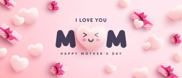 Mother's Day Poster or banner with sweet hearts and gift box on pink background.Promotion and shopping template or background for Love and Mother's day concept.Vector illustration eps 10 vector art illustration