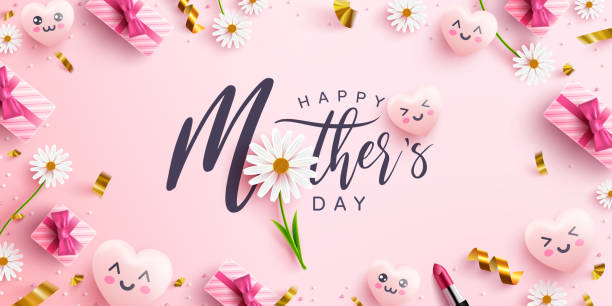 Mother's Day Poster or banner with sweet hearts,flower and pink gift box on pink background.Promotion and shopping template or background for Love and Mother's day concept.Vector illustration eps 10 vector art illustration