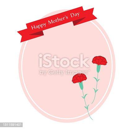 istock Mother's Day red carnation illustration frame 1311591401