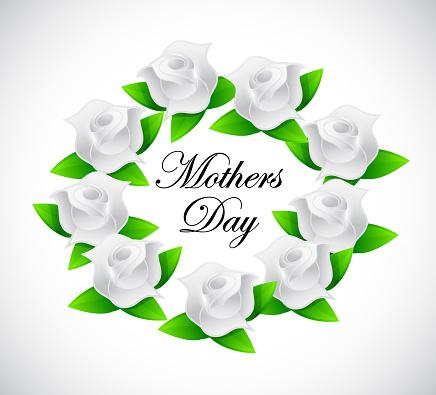 Mothers day roses sign illustration design