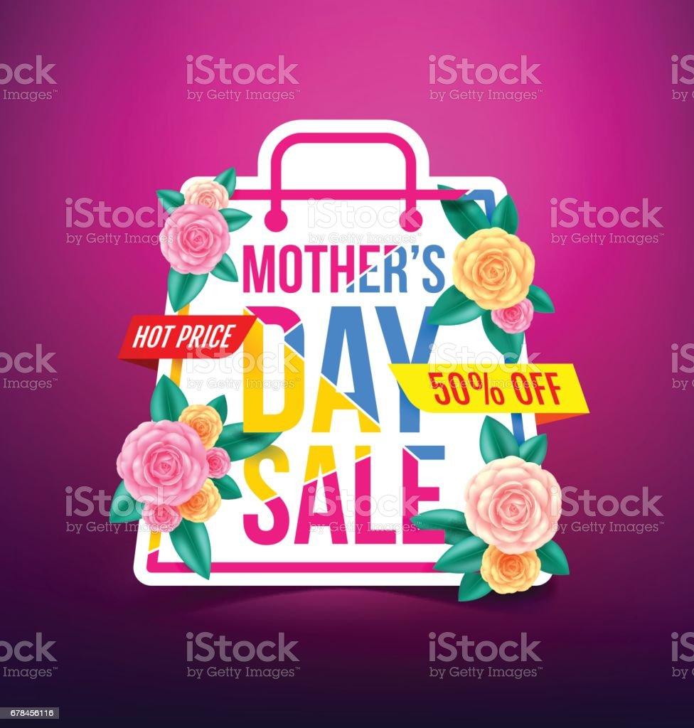 Mothers Day Sale 50% Discount with beautiful flower for Banners,Flyers,Posters, Brochure,Invitation and Voucher Discount and Hot Price.Vector illustration EPS 10 royalty-free mothers day sale 50 discount with beautiful flower for bannersflyersposters brochureinvitation and voucher discount and hot pricevector illustration eps 10 stock vector art & more images of arts culture and entertainment