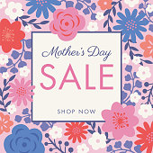 Mother's Day sale background with flowers frame. stock illustration
