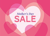 Mother's Day sale background with hearts frame. stock illustration