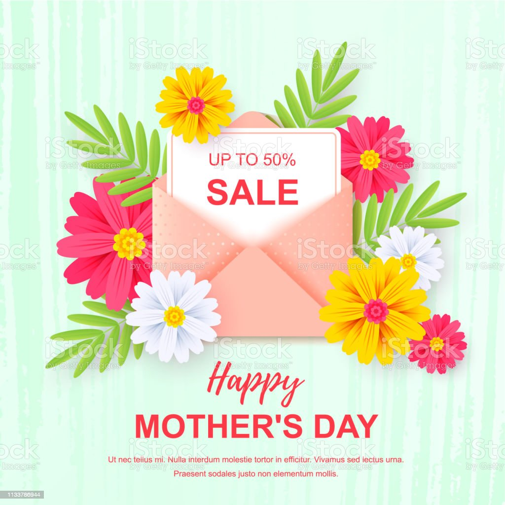 Mother's day sale banner isolated on white. Design for banners,...