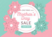 Mothers day sale background layout with beautiful colorful flower for banners, wallpaper, flyers, invitation, posters, brochure, voucher discount. Vector illustration template.