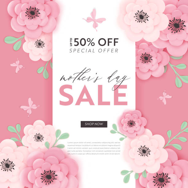 mothers day sale design. spring promo discount banner template with paper cut flowers for flyer, poster, voucher advertising. vector illustration - mothers day stock illustrations