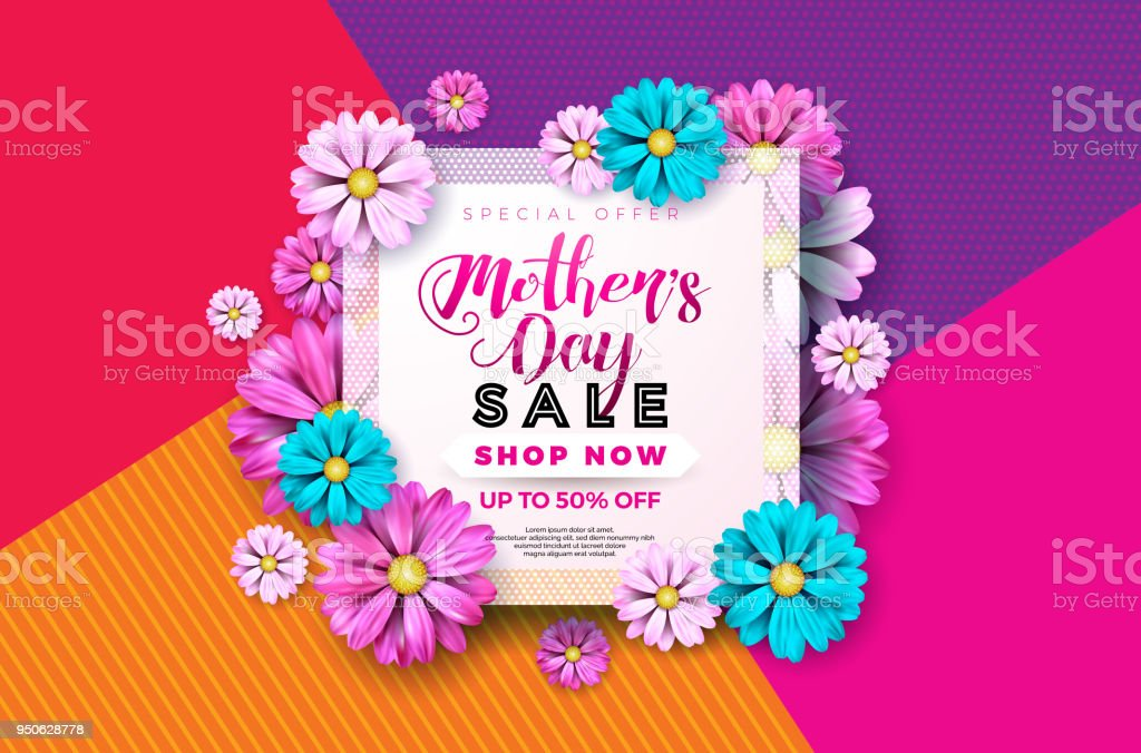 Mothers day sale greeting card design with flower and typographic mothers day sale greeting card design with flower and typographic elements on abstract background vector m4hsunfo
