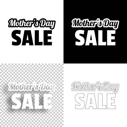 Mother's Day Sale. Icon for design. Blank, white and black backgrounds - Line icon