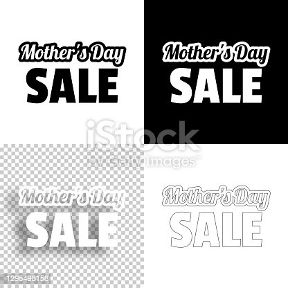 istock Mother's Day Sale. Icon for design. Blank, white and black backgrounds - Line icon 1295498158