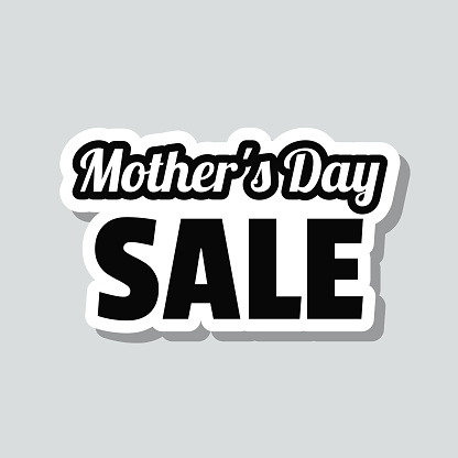 Mother's Day Sale. Icon sticker on gray background