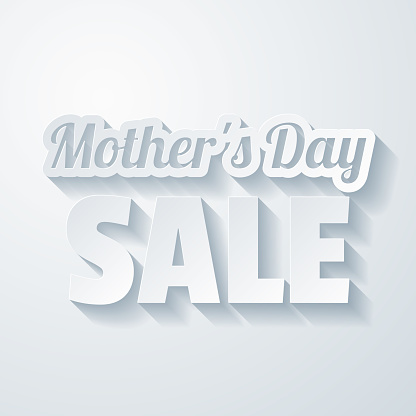 Mother's Day Sale. Icon with paper cut effect on blank background